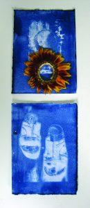 Davina Kirkpatrick's Cyanotype of slippers with sunflower. residency at CAKE kildare Ireland