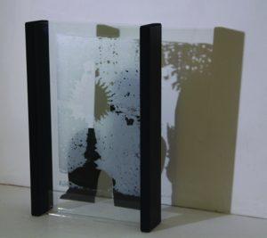 Davina kirkpatrick footfall VI layered painted and enamelled glass at exhibition Back Lane West Cornwall