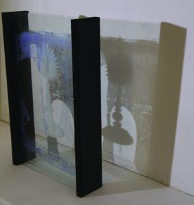 davina Kirkpatrick footfall IIII layered painted and enamelled glass at exhibition Back Lane West Cornwall