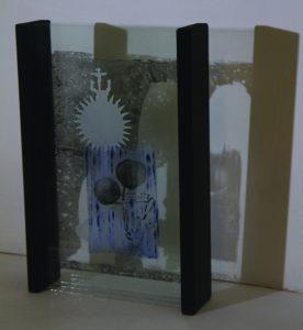 Davina Kirkpatrick footfall III layered painted and enamelled glass at exhibition Back Lane West Cornwall