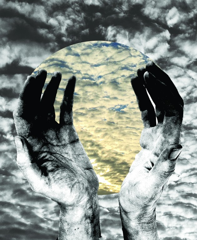 cupped hands holding clouds