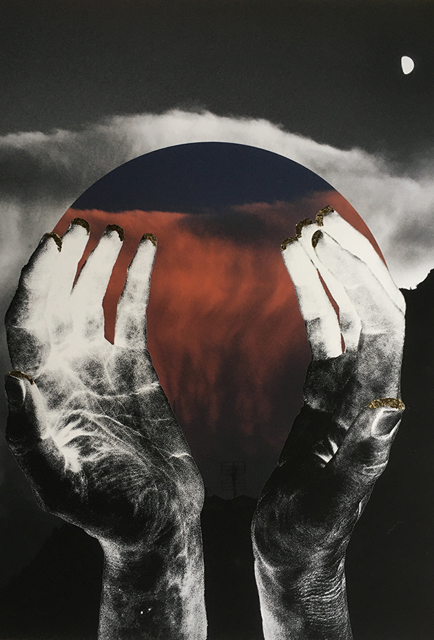 cupped hands (photographically inverted so like an X-ray) holding a sunset cloud curtain sphere.