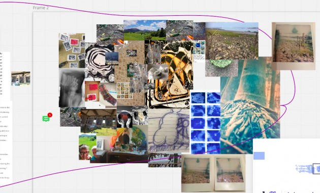 miro board collage of photos and artwork by Dawne Fahey, Alys Mendus and Davina Kirkpatrick - thinking through images
